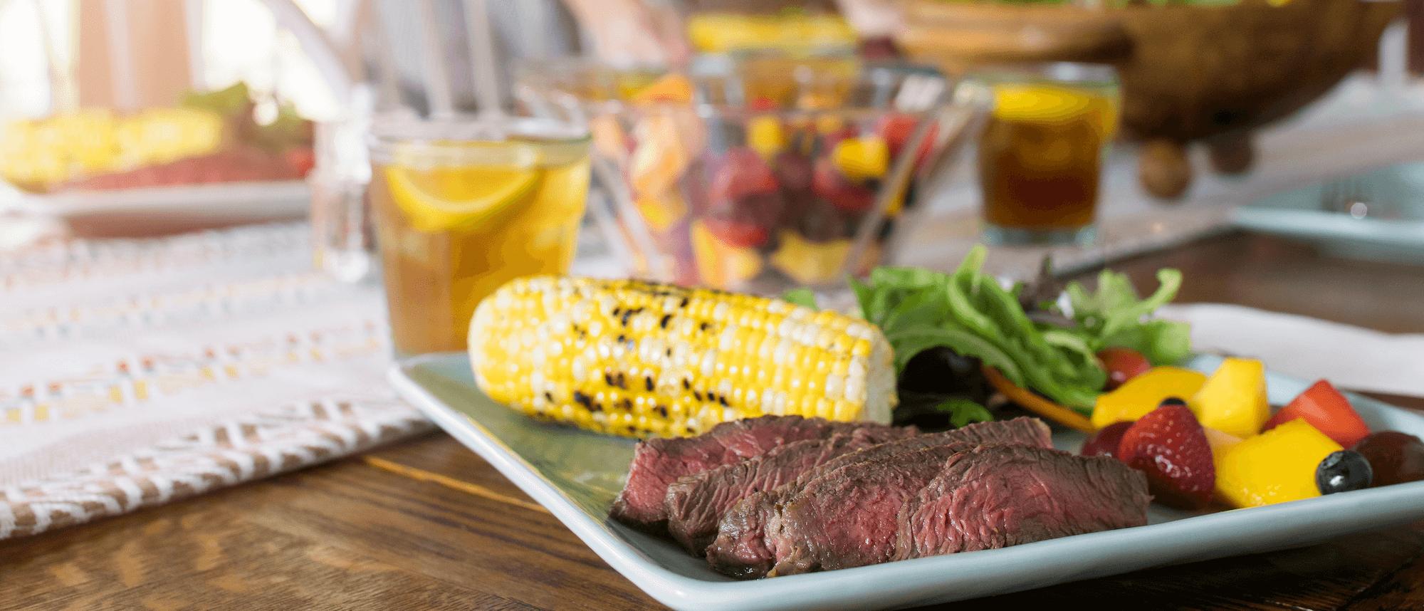 Steak and corn plate